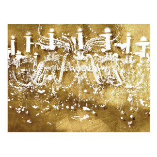Chandelier Golden Light Postcard