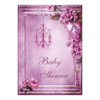 Chandelier, Heart & Flowers Frame Baby Shower Card