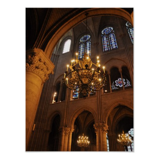 Chandelier in Notre Dame Print