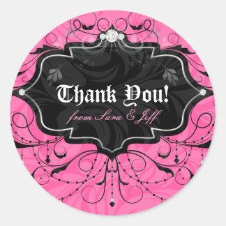 Chandelier Leaves Jewelry Pink Black Classic Round Sticker