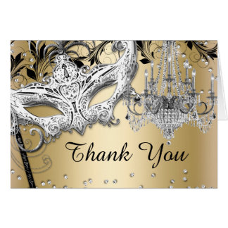 Chandelier Masquerade Gold Thank You Card