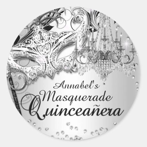 Chandelier Masquerade Silver Quinceanera Sticker