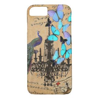 chandelier modern vintage peacock blue butterfly iPhone 8/7 case
