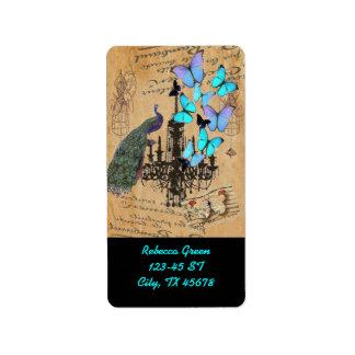 chandelier modern vintage peacock blue butterfly label