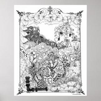 Chandelier of  Flowers Art Nouveau  Adult Coloring Poster