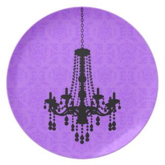 Chandelier on Purple Damask Plate