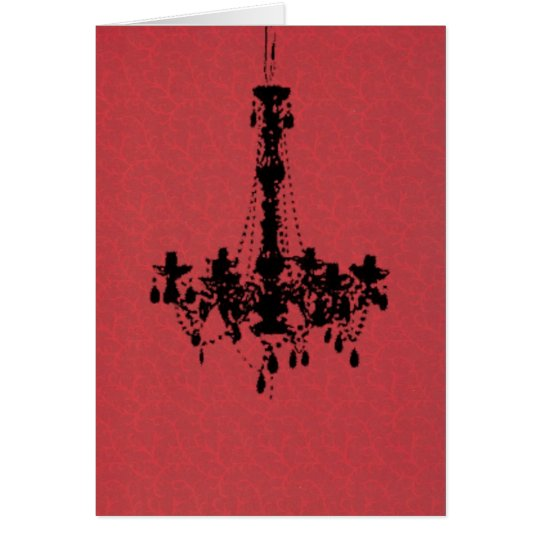 Chandelier on Red Background Card