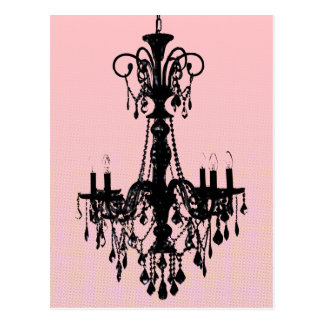 Chandelier & Pink Postcard