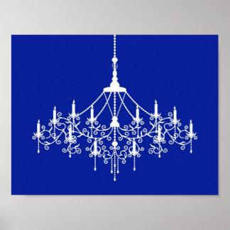 Chandelier Silhouette in Cobalt Blue Poster