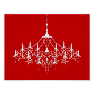 Chandelier Silhouette in Red Print