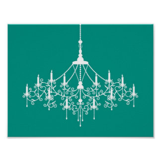 Chandelier Silhouette in Teal Poster