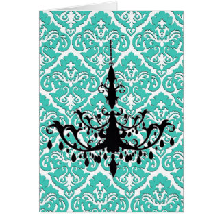 Chandelier Silhouette Teal Damask Card