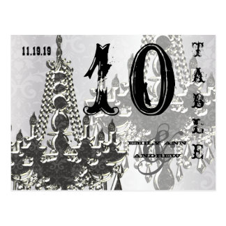 Chandelier Silver Playbill Table Number Card