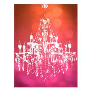 Chandelier Sparkling Pink Postcard