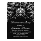 Chandelier, tree lights at night Retirement Party Card