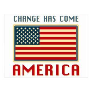 Change Has Come to America Obama Postcard