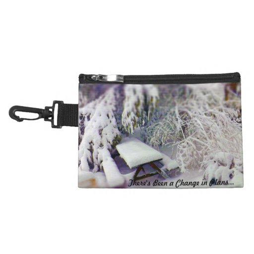 Change in Plans Snow Covered Picnic Table, Pines Accessory Bags