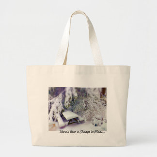 Change in Plans Snow Covered Picnic Table Pines Canvas Bag