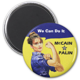 """""""change is coming"""" Mccain / Palin Republican Party 2 Inch Round Magnet"""