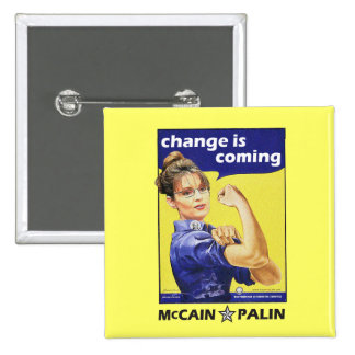 """""""Change is coming"""" McCain / Palin Republican Party 2 Inch Square Button"""