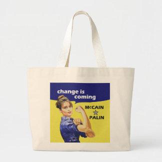 """change is coming"" Mccain / Palin Republican Party Jumbo Tote Bag"
