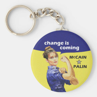 """""""change is coming"""" McCain / Palin Republican Party Basic Round Button Keychain"""
