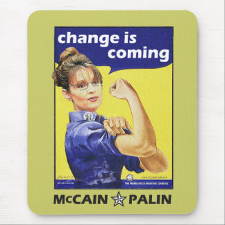 """""""change is coming"""" Mccain / Palin Republican Party Mouse Pad"""