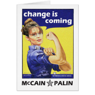 """""""change is coming"""" McCain / Palin Republican Party Note Card"""