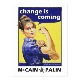 """""""Change is coming"""" McCain / Palin Republican Party Postcard"""