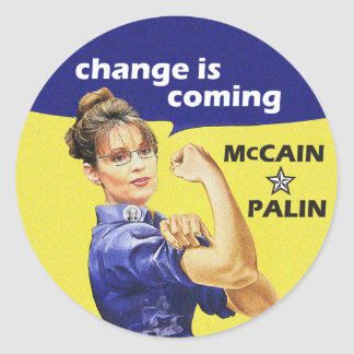 """change is coming"" Mccain / Palin Republican Party Round Sticker"