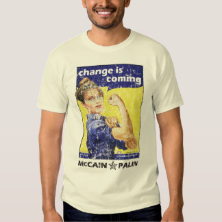 """""""change is coming"""" McCain / Palin Republican Party Tshirt"""