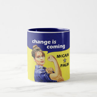 """change is coming"" McCain / Palin Republican Party Two-Tone Coffee Mug"
