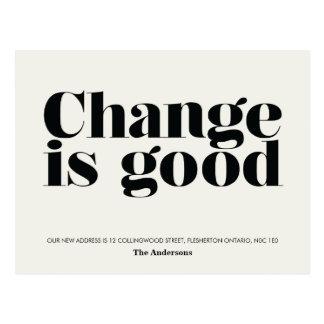 Change is Good Moving Announcement // Black Postcard