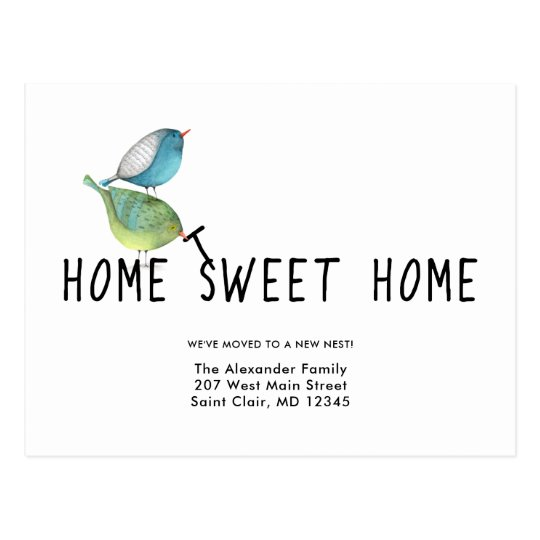 Change of Address Cute Birds Home Sweet Home Postcard
