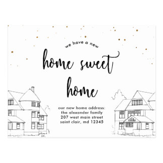 Change of Address Home Sweet Home with Stars Postcard