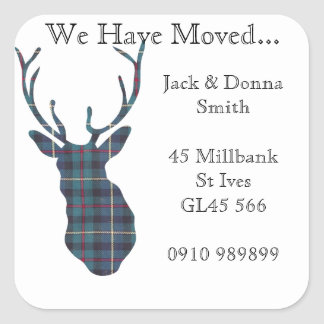 Change of address labels Tartan country stags head