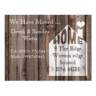 Change of address postcard we have moved wood