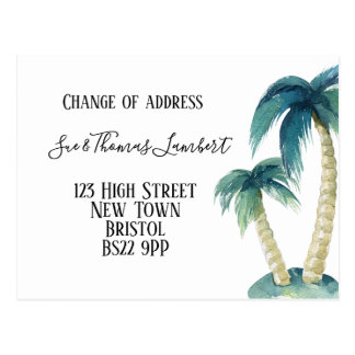Change of address tropical, palm tree, Florida Postcard