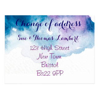 Change of address water-colour postcard