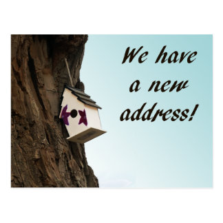 Change of address with birdhouse postcard