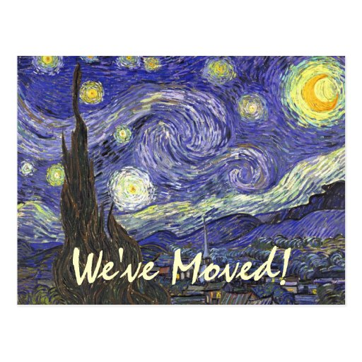 Change of Address with Starry Night by van Gogh Post Card