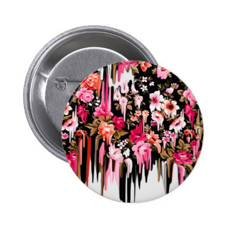 Change of Heart, melting floral pattern 2 Inch Round Button
