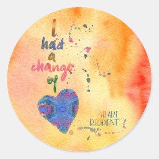 Change of Heart, Watercolor, Heart Recipient Classic Round Sticker