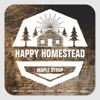 Change Text To Create Rustic Cabin Food Label Square Sticker
