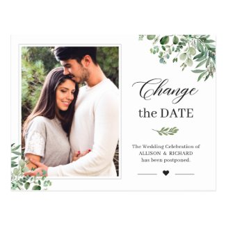 Change the Date Greenery Eucalyptus Leaves Photo Postcard
