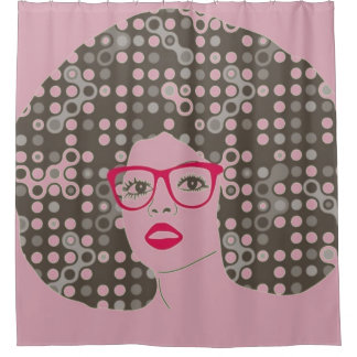 Change Woman wearing red eyeglasses with Afro