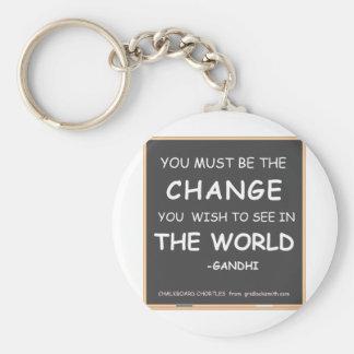 Change-World-Gandhi Basic Round Button Keychain