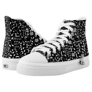 CHANGEABLE BACKGROUND COLOR-MUSIC NOTES HIGH TOPS