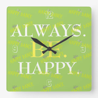 Changeable color positive affirmation quote square wall clock