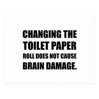 Changing Toilet Paper Roll Brain Damage Postcard